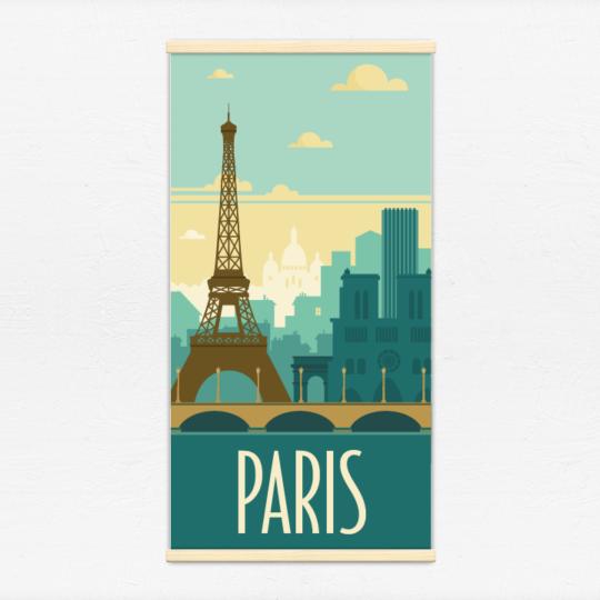 Kakémono décoratif avec l'illustration Paris rétro