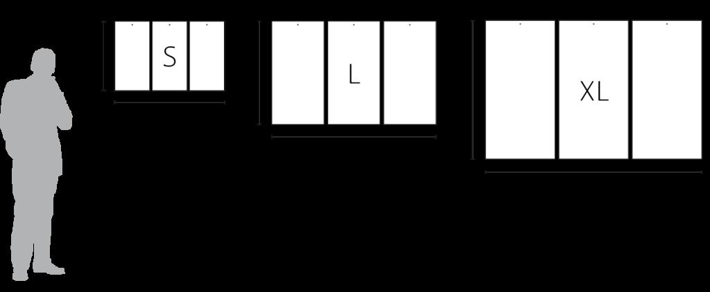 Format des kakémonos triptyques