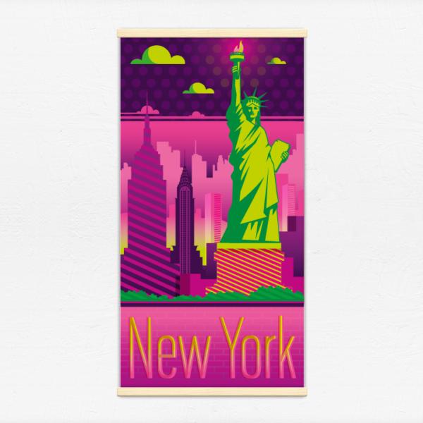 Kakémono décoratif avec l'illustration New York electro