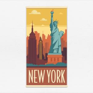 Kakémono décoratif avec l'illustration New York rétro