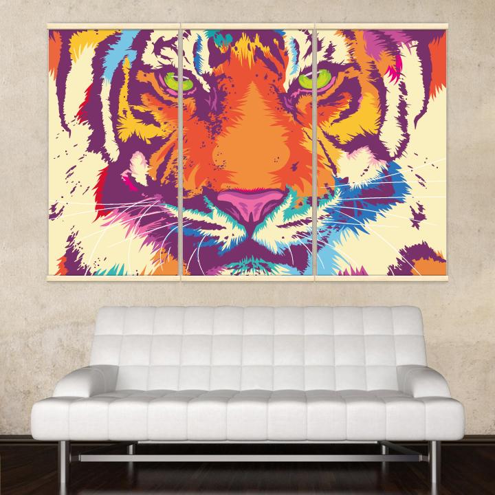 Décoration intérieure avec 3 kakémonos décoratifs représentant un portrait de tigre