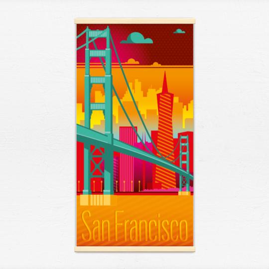 Kakémono décoratif avec l'illustration San Francisco electro