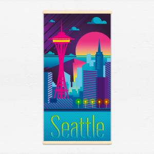 Kakémono décoratif avec l'illustration Seattle electro
