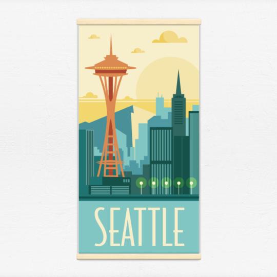 Kakémono décoratif avec l'illustration Seattle rétro