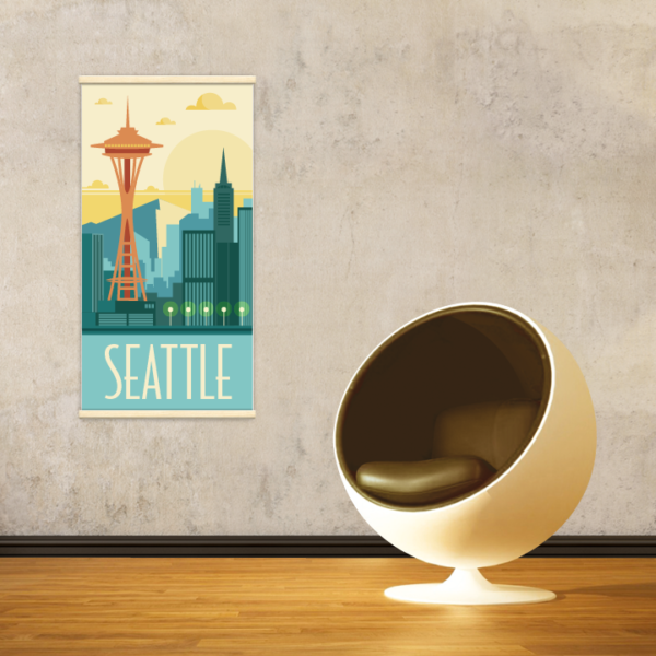 Décoration intérieure avec le kakémono décoratif Seattle rétro