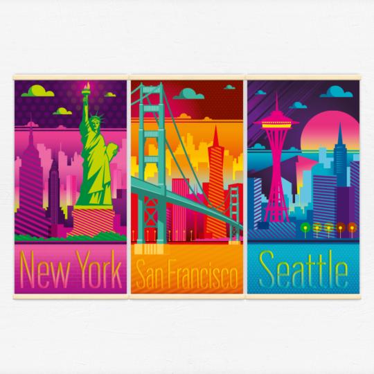 Kakémonos décoratifs avec l'illustration Villes des USA electro