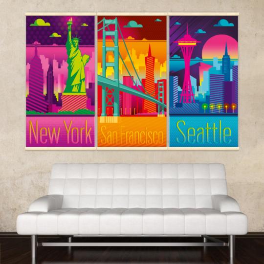 Décoration intérieure avec 3 kakémonos décoratifs electro représentant Seattle, San Francisco et New York