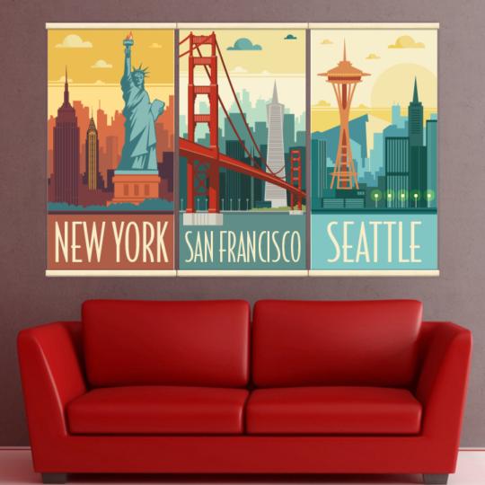 Décoration intérieure avec 3 kakémonos décoratifs rétros représentant Seattle, San Francisco et New York