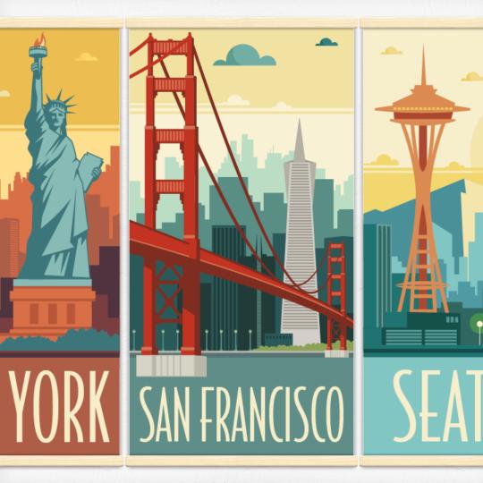 Kakémonos décoratifs avec l'illustration Villes des USA rétro