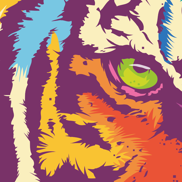Zoom sur l'illustration Rainbow tiger