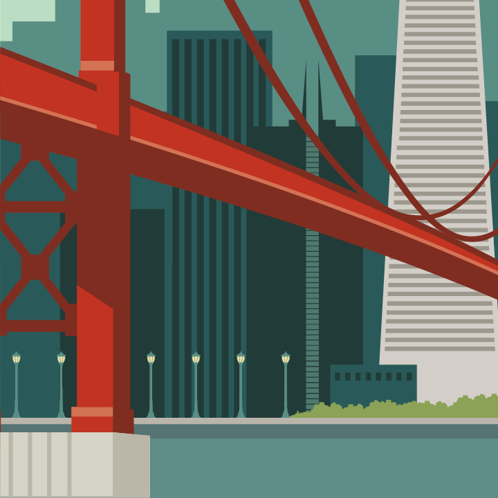 Zoom sur l'illustration San Francisco rétro