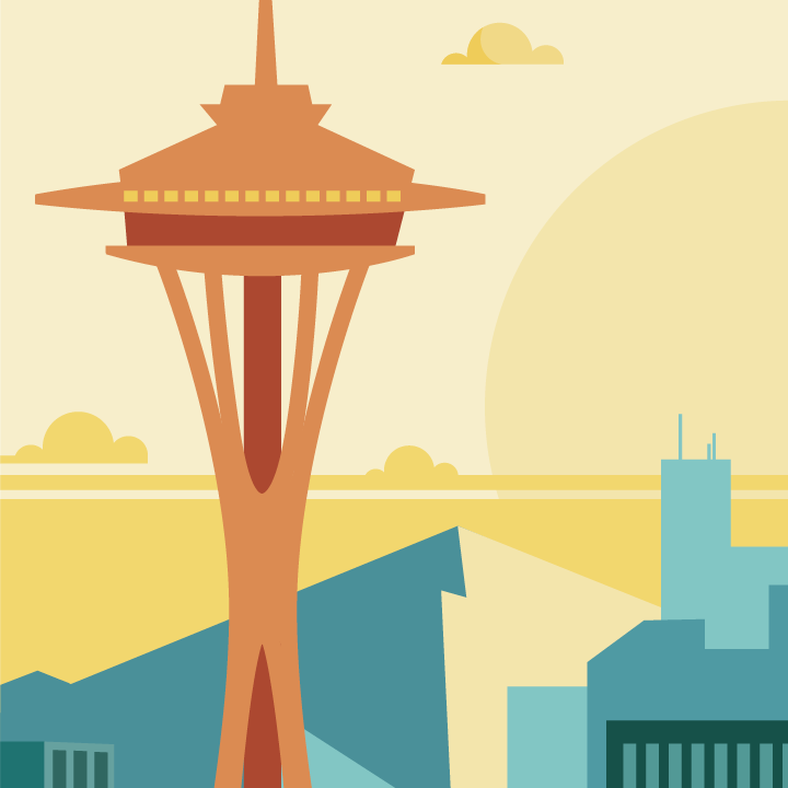 Zoom sur l'illustration Seattle rétro