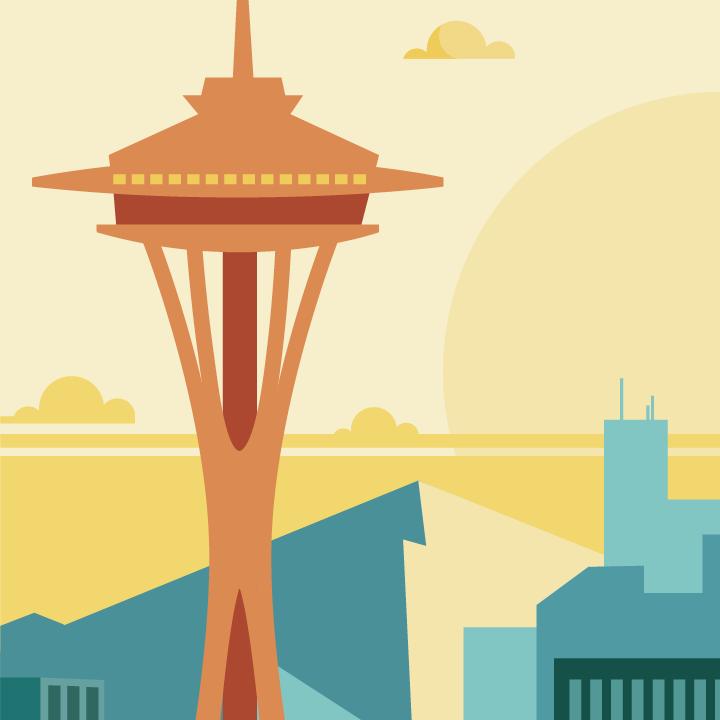 Zoom sur l'illustration Seattle rétro