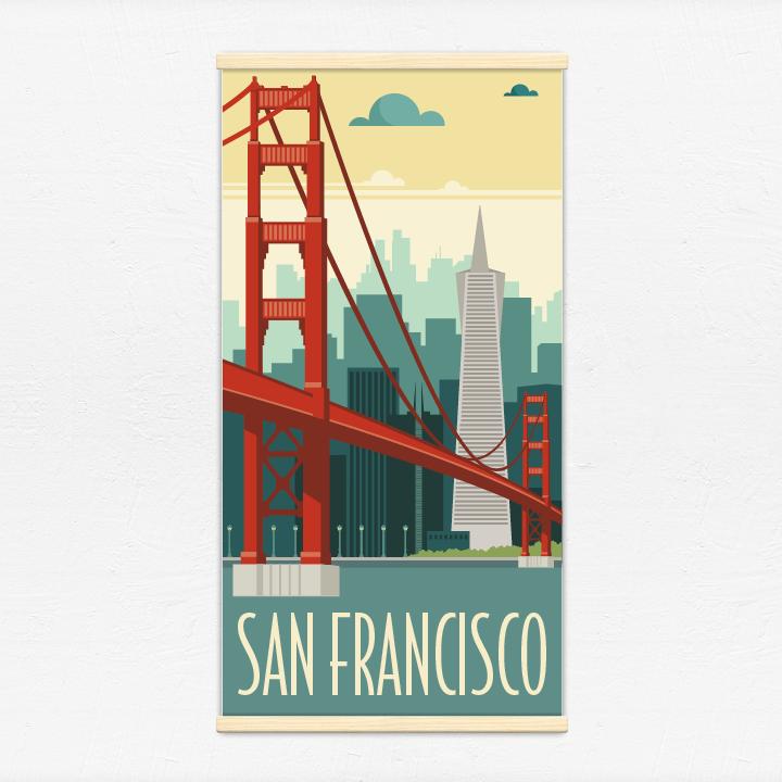 Kakémono décoratif avec l'illustration San Francisco rétro