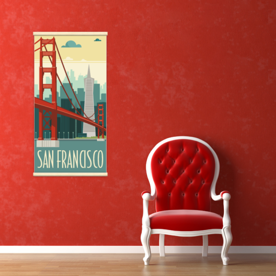 Décoration intérieure avec le kakémono décoratif San Francisco rétro