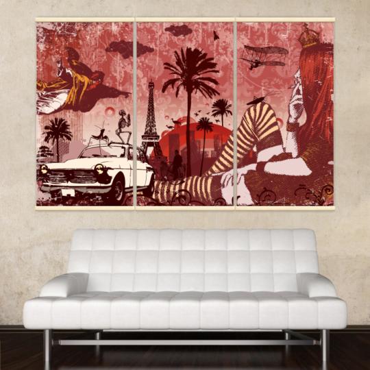 Décoration intérieure avec 3 kakémonos décoratifs représentants un rêve fantastique