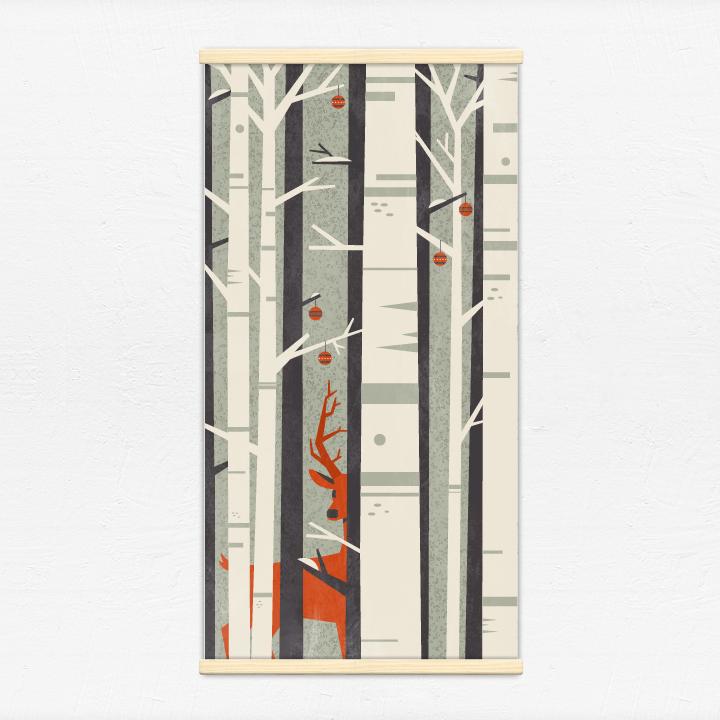 Kakémono décoratif avec l'illustration Forêt de Noël