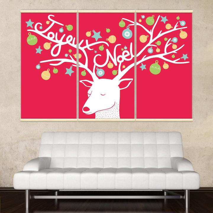 Décoration intérieure avec 3 kakémonos décoratifs représentant un renne de Noël
