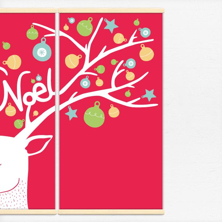 Kakémonos décoratifs avec l'illustration Joyeux Noël du renne