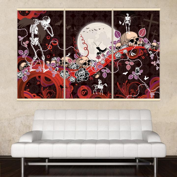 Décoration intérieure avec 3 kakémonos décoratifs représentant un paysage gothique