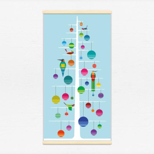 Kakémono décoratif avec l'illustration Sapin de Noël 2