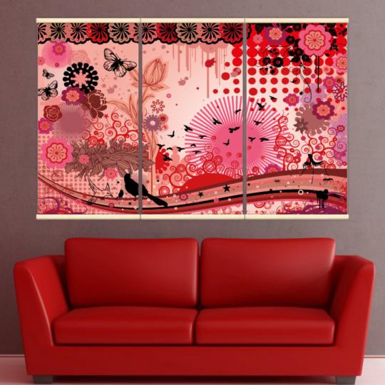 Décoration intérieure avec 3 kakémonos décoratifs représentant l'eveil du printemps