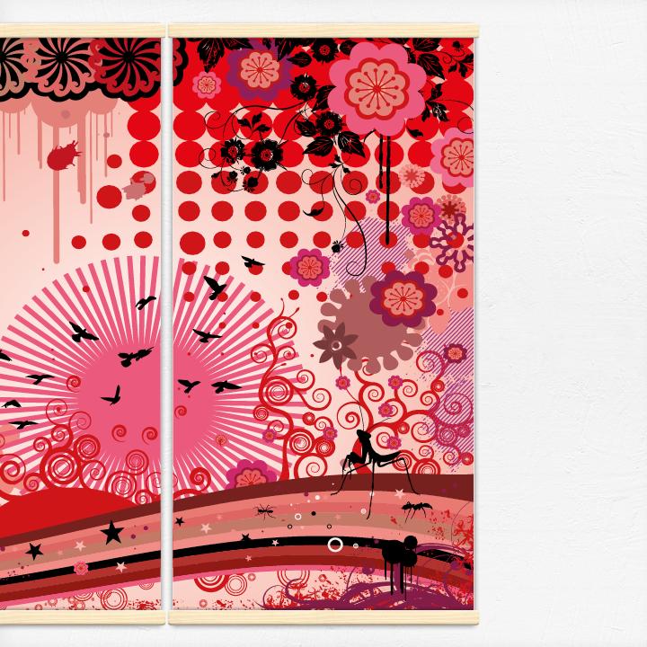 Kakémonos décoratifs avec l'illustration L'éveil du printemps