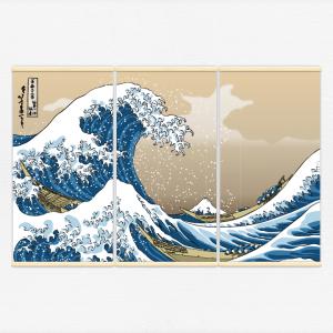 Kakémonos décoratifs avec l'illustration vague hokusai