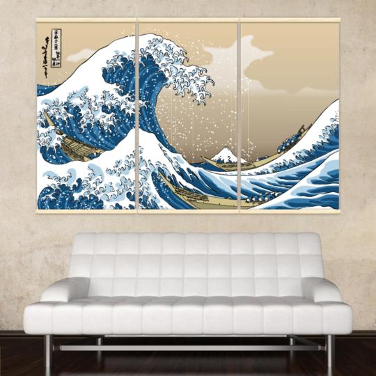 Décoration intérieure avec 3 kakémonos décoratifs représentant la vague d'hokusai