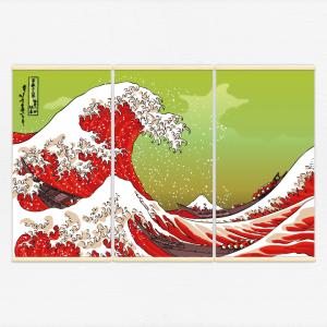 Kakémonos décoratifs avec l'illustration vague hokusai rouge
