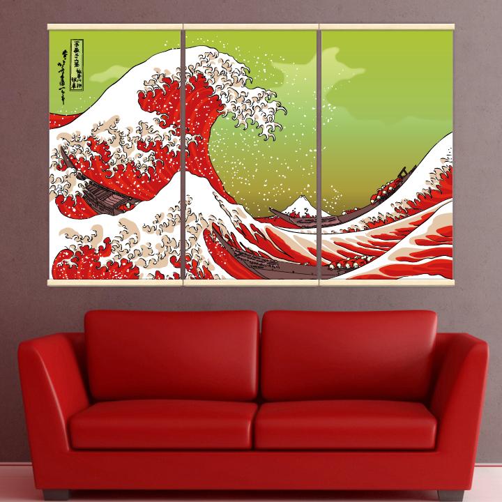 Décoration intérieure avec 3 kakémonos décoratifs représentant la vague d'hokusai en rouge