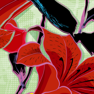 Zoom sur l'illustration Fleur Hokusai Pop Art