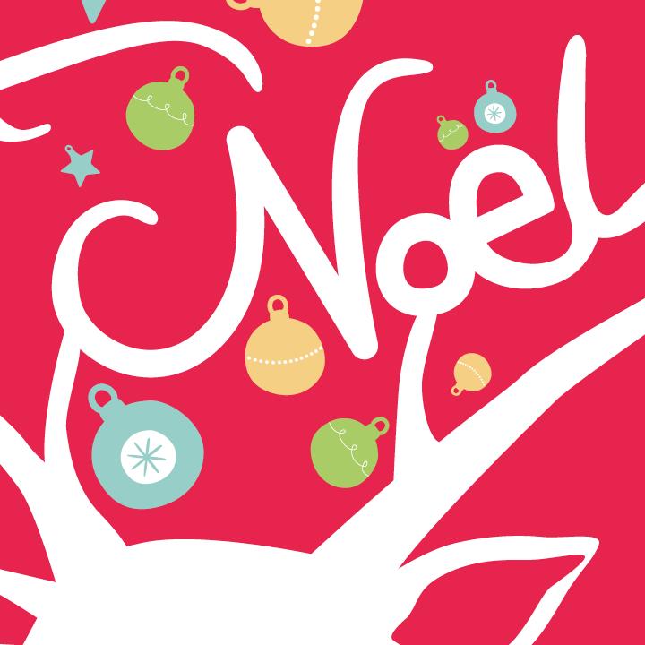 Zoom sur l'illustration Joyeux Noël du renne