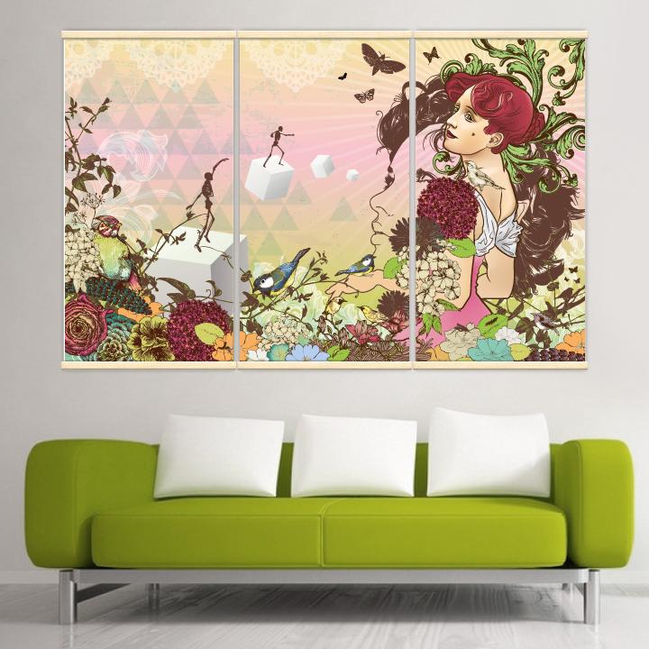 Décoration intérieure avec 3 kakémonos décoratifs représentant un paysage bucolique