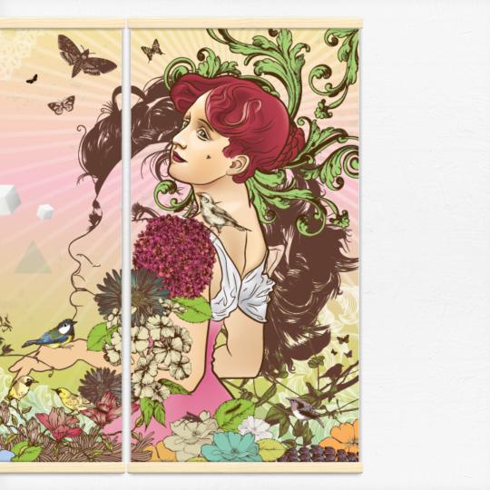 Kakémonos décoratifs avec l'illustration nature feminine