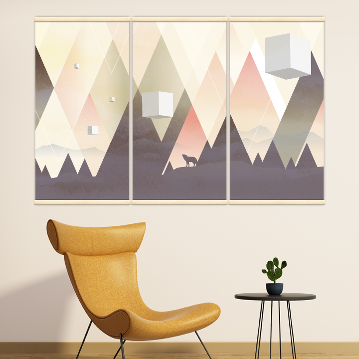Décoration intérieure avec 3 kakémonos décoratifs représentant un paysage geometrique