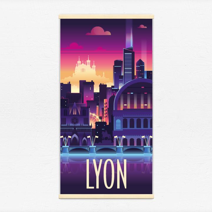 Kakémono décoratif avec l'illustration Lyon lumière