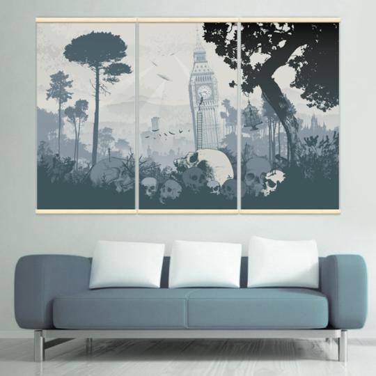 Décoration intérieure avec 3 kakémonos décoratifs représentant un paysage apocalyptique
