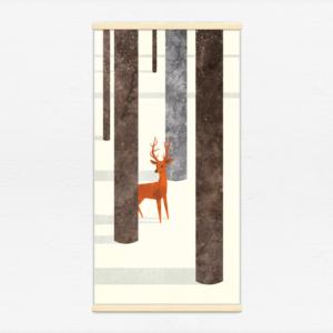 Kakémono décoratif avec l'illustration Forêt d'hiver