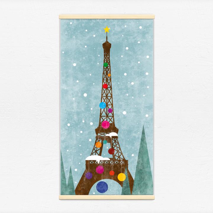 Kakémono décoratif avec l'illustration Tour Eiffel de Noël