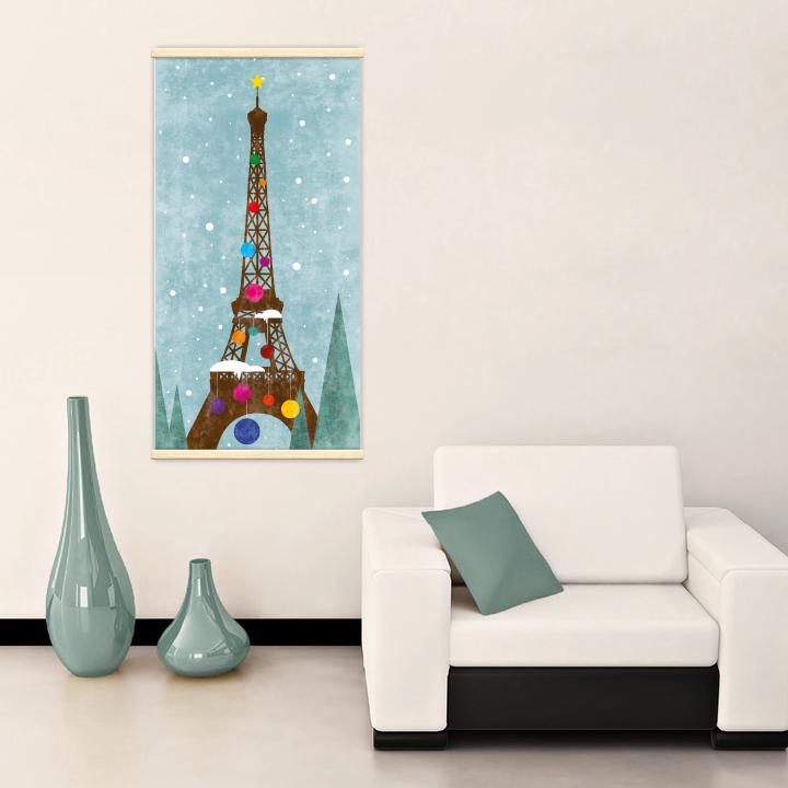 Décoration intérieure avec le kakémono décoratif Tour Eiffel de Noël