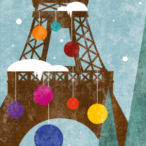 zoom sur l'illustration Tour Eiffel de Noël