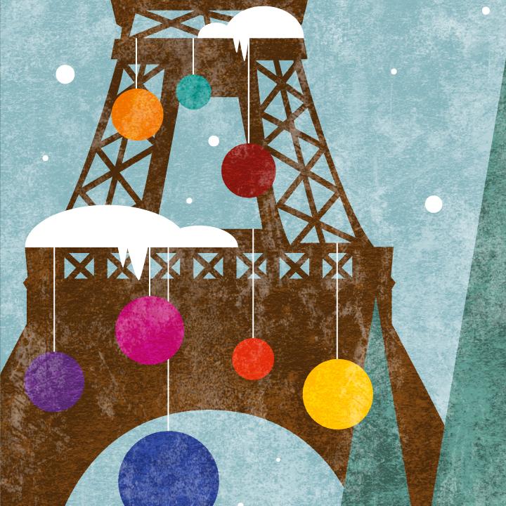 zoom sur l'illustration Tour Eiffel de Noël