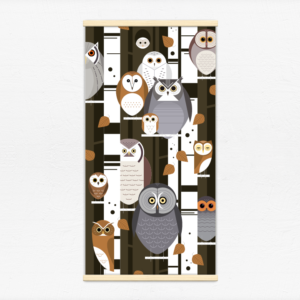 Kakémono décoratif avec l'illustration Chouette !