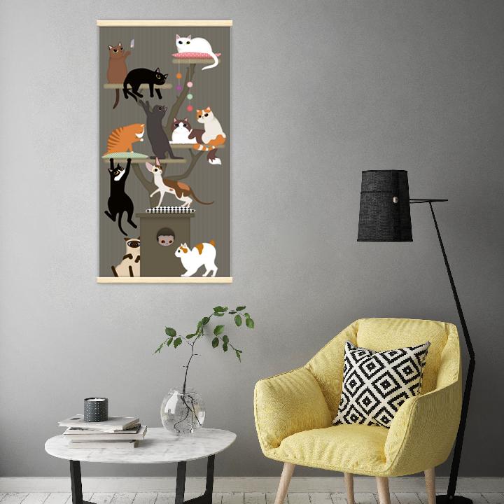 Décoration intérieure avec le kakémono décoratif Arbre à chat