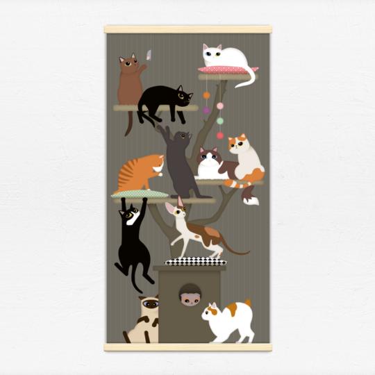 Kakémono décoratif avec l'illustration Arbre à chat