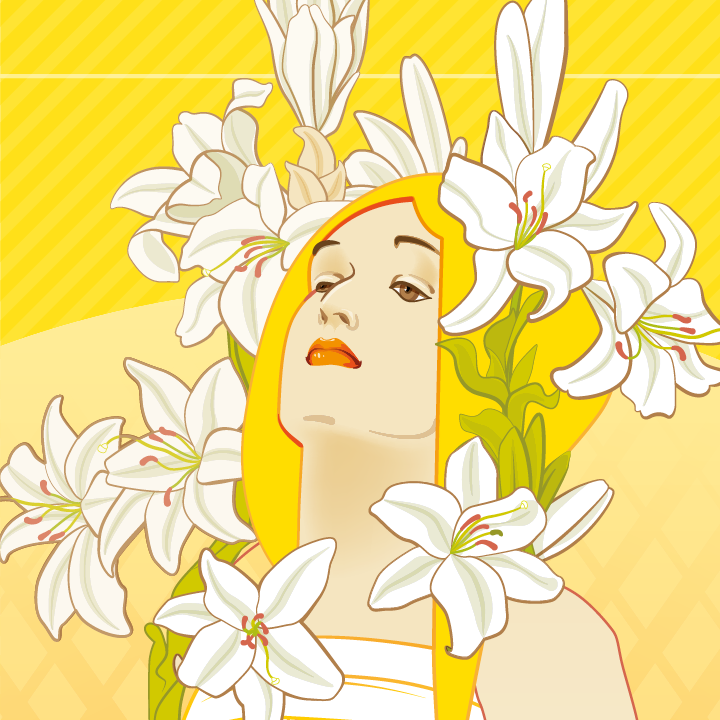 zoom sur l'illustration Lily Mucha