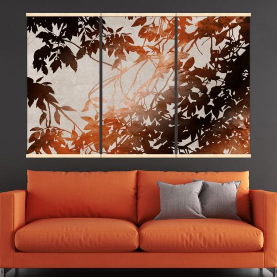 Décoration intérieure avec 3 kakémonos décoratifs représentant des feuilles d'automne