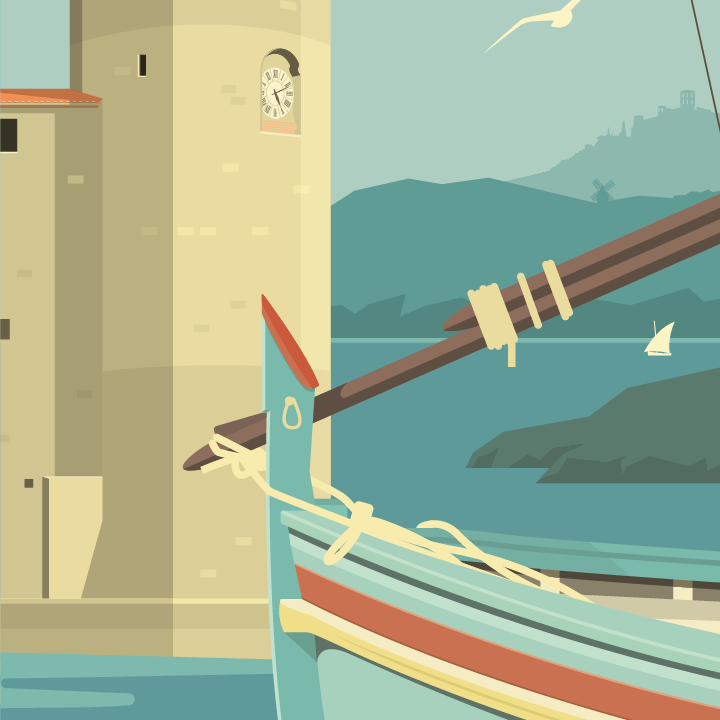 zoom sur l'illustration Collioure rétro