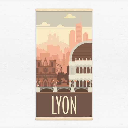 Kakémono décoratif avec l'illustration Lyon rétro